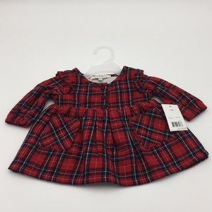 George Baby Girls Holiday Red Flannel Dress 0-3 M